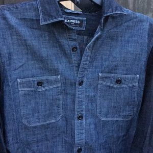 Men's Express lightweight long sleeve denim shirt
